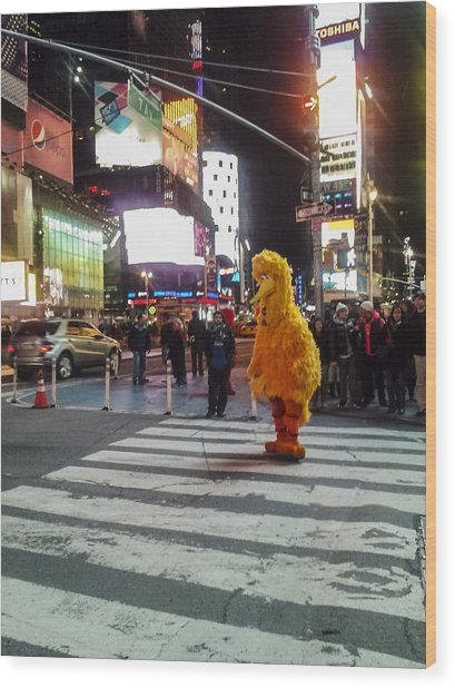 Big Bird On Times Square Wood Print