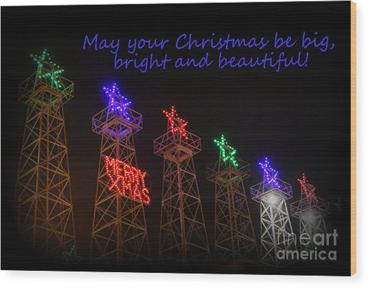 Big Bright Christmas Greeting  Wood Print