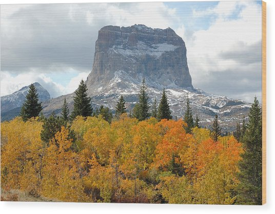 Big Chief Mountain - The Rock Of Legend Wood Print by Clay and Gill Ross