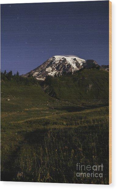 Big Dipper Over Mt Rainier Wood Print