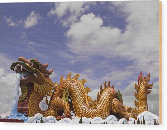 Big Dragon Statue And Blue Sky With Cloud In Thailand Wood Print
