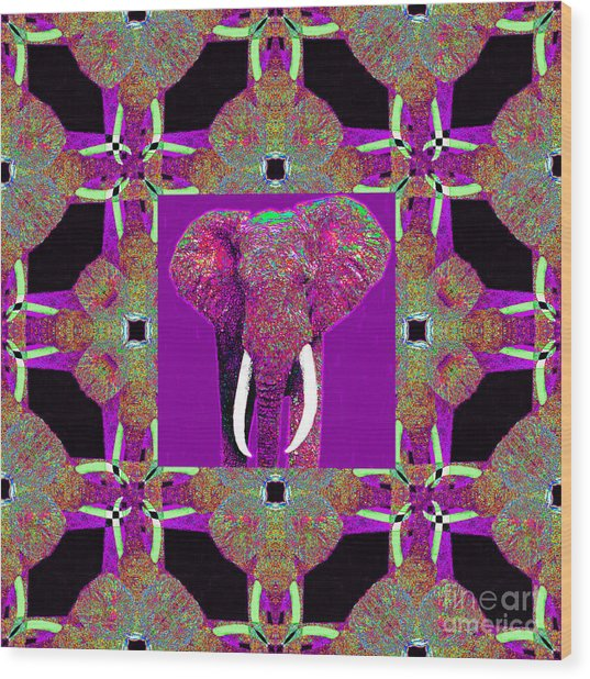 Big Elephant Abstract Window 20130201m68 Wood Print by Wingsdomain Art and Photography