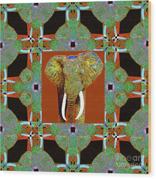 Big Elephant Abstract Window 20130201p20 Wood Print by Wingsdomain Art and Photography