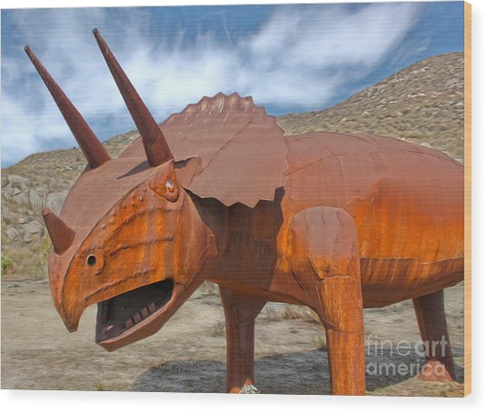 Big Fake Dinosaur - Triceratops Wood Print
