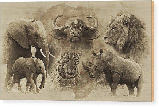 Big Five - Untamed Africa Wood Print by Basie Van Zyl