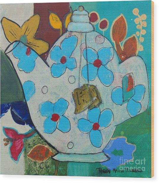 Big Floral Tea Pot Wood Print