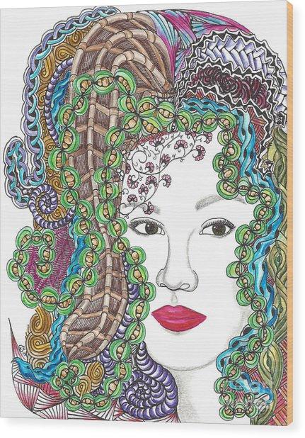 Big Hair Color Wood Print
