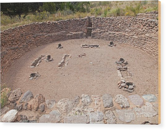Big Kiva Bandelier National Monument Wood Print