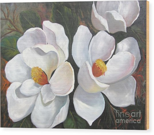 Big Magnolias Wood Print
