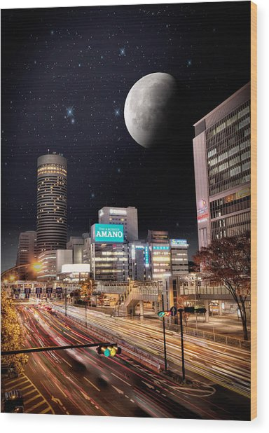 Big Moon Yokohama Wood Print