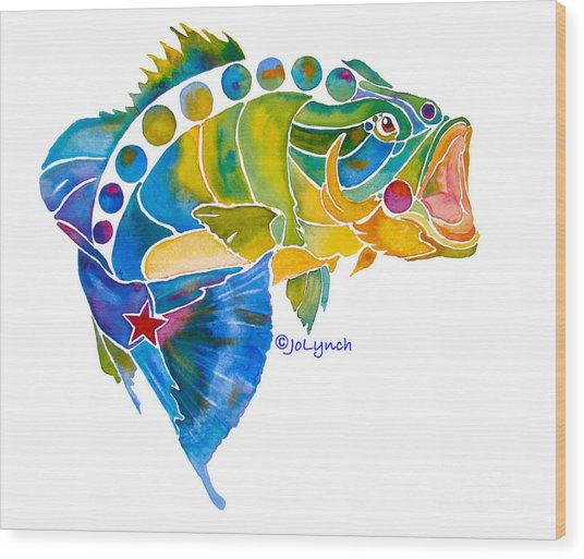Big Mouth Bass Whimsical Wood Print