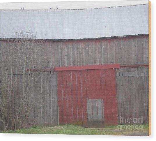 Big Red Barn Door Wood Print