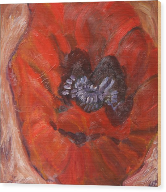Big Red Poppy Wood Print