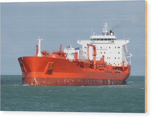 Big Red Tanker Wood Print