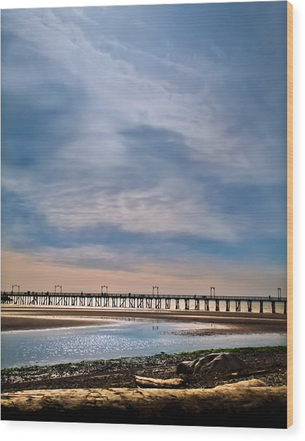 Big Skies Over The Pier Wood Print