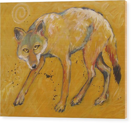 Big Sky Coyote Wood Print