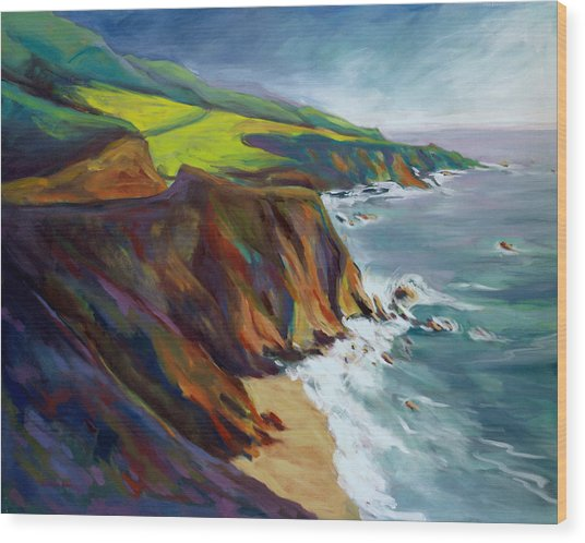 Wood Print featuring the painting Big Sur 1 by Konnie Kim