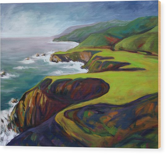 Wood Print featuring the painting Big Sur 2 by Konnie Kim