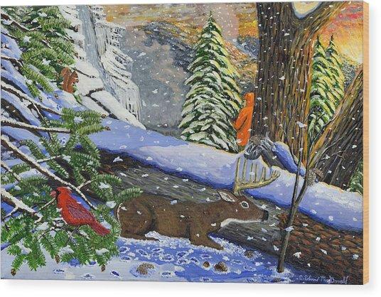Big Timber Buck Wood Print