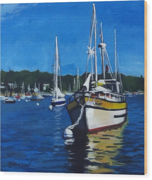 Wood Print featuring the painting Big Yellow On The Mooring by Jane Croteau
