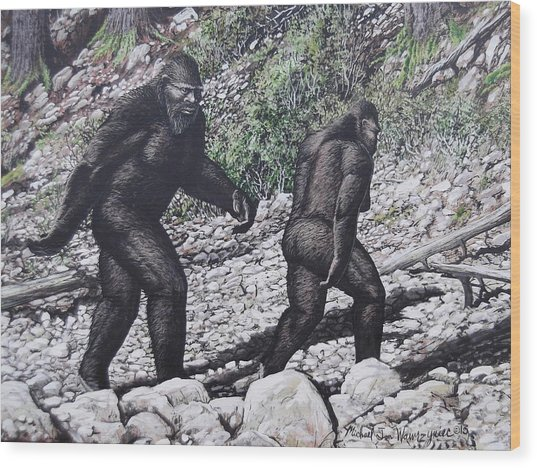 Bigfoot Couple Wood Print