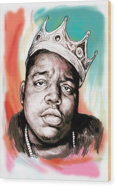 Biggie Smalls Colour Drawing Art Poster Wood Print