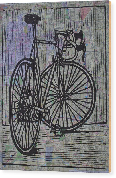 Bike 4 On Map Wood Print