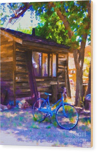 Bike At Hillside Cabin Wood Print