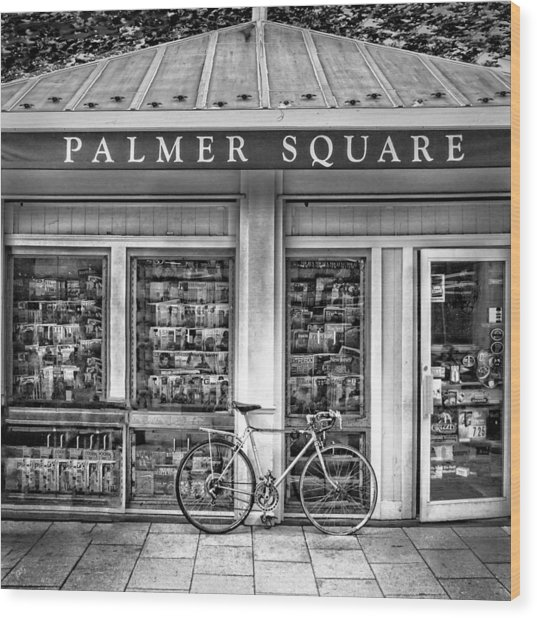 Bike At Palmer Square Book Store In Princeton Wood Print