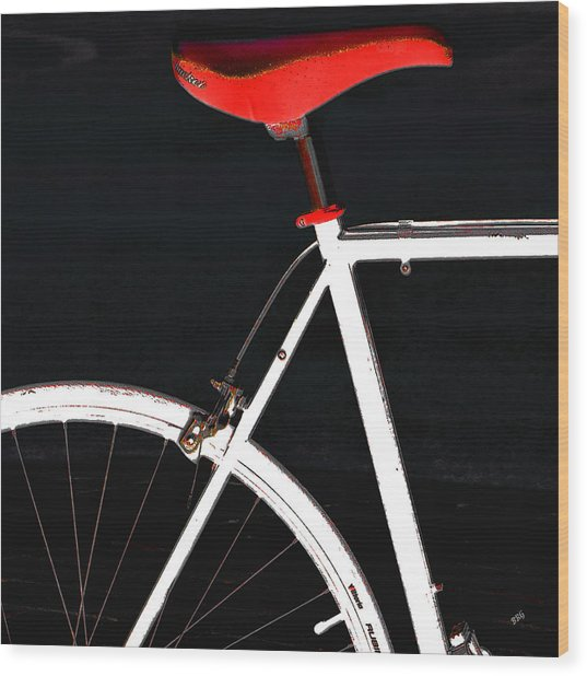 Bike In Black White And Red No 1 Wood Print