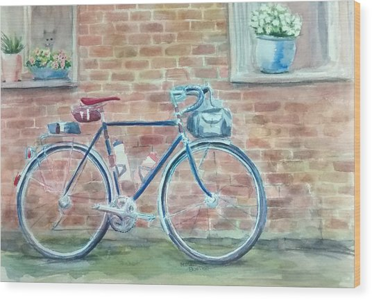 Bike In The Alley Wood Print