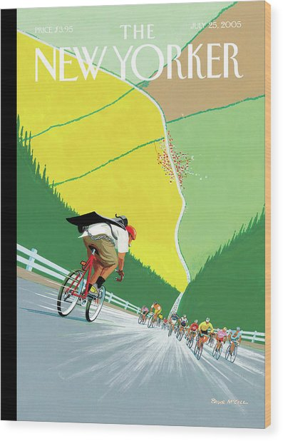 Bike Messenger Racing Towards Bikers Racing Wood Print