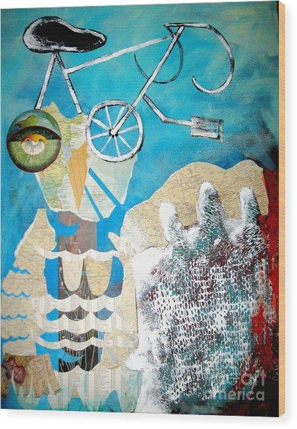 Bike Owl Wood Print