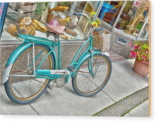 Bike Ride To The Bake House Wood Print by John Debar