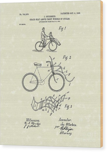 Bike Seat 1903 Patent Art Wood Print