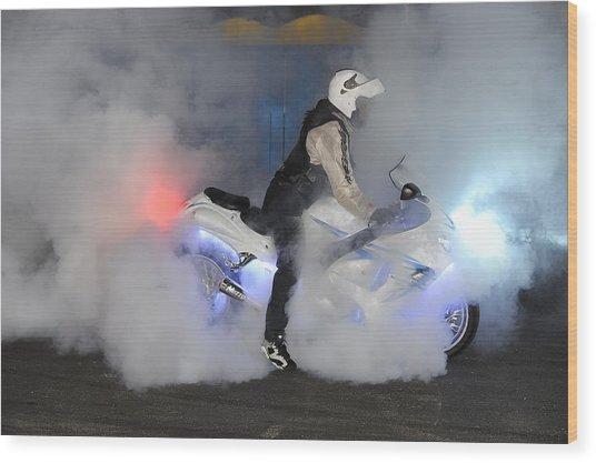 Biker Burn Out Wood Print by Joe Oliver