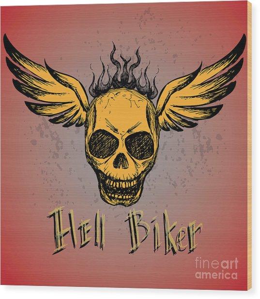 Biker Emblem, Logo Or Tattoo, Hand Wood Print by Naum