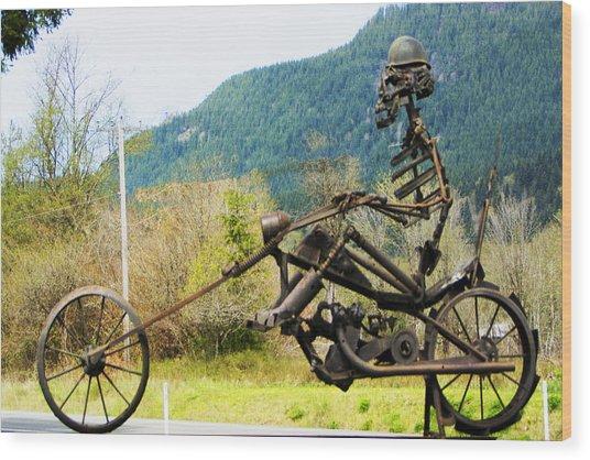 Biker Wood Print by Ron Roberts