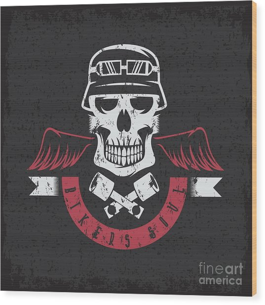 Biker Theme Grunge Label With Pistons Wood Print