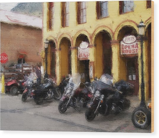 Bikers Outside Corner Bar Wood Print