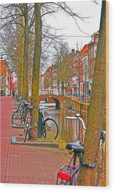 Bikes And Canals Wood Print