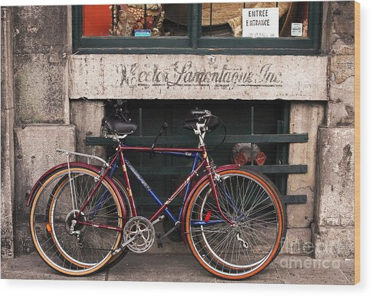 Bikes In Old Montreal Wood Print by John Rizzuto