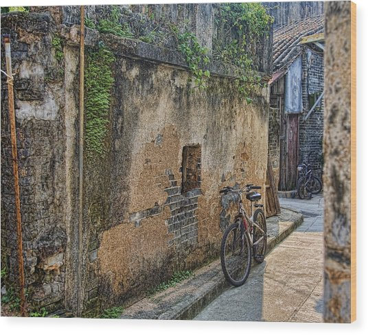Bikes Wood Print by Karen Walzer