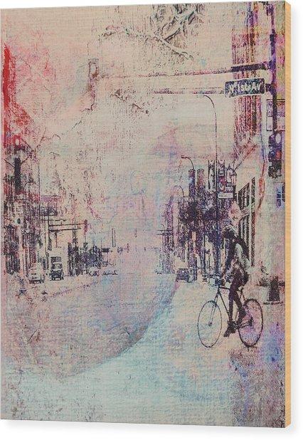 Biking In The City Wood Print