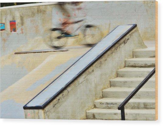 Biking The Skateboard Park Wood Print
