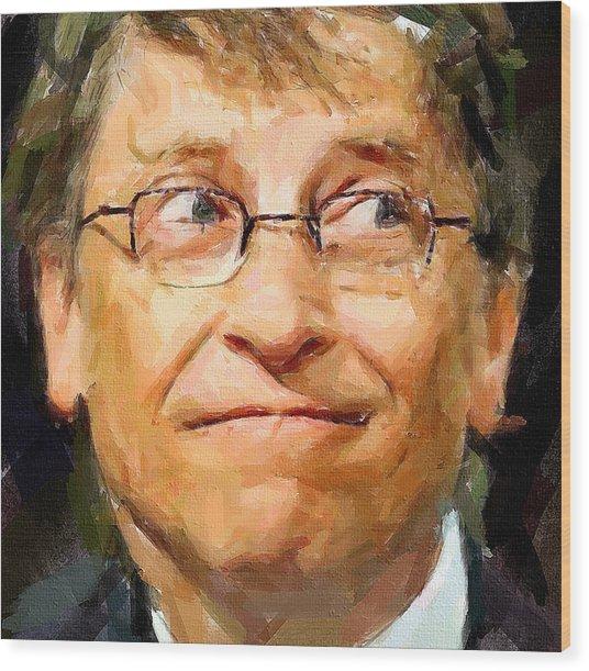 Bill Gates Wood Print