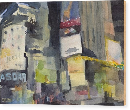 Billboards Times Square At Night Watercolor Painting Of Nyc Wood Print