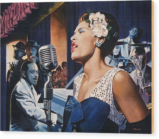 Billie Holiday - Lady Sings The Blues Wood Print by Jo King