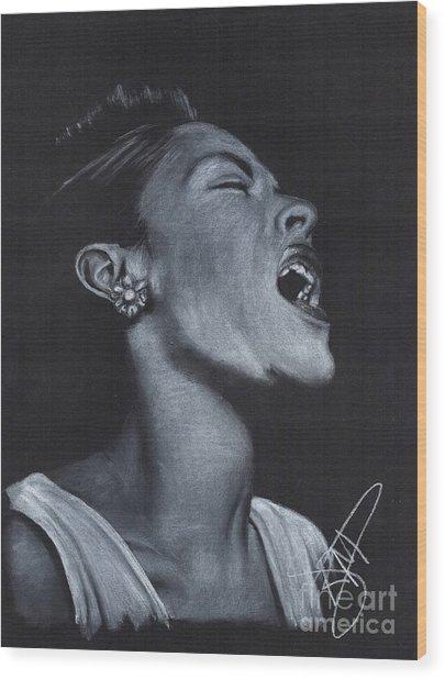 Billie Holiday Wood Print by Rosalinda Markle