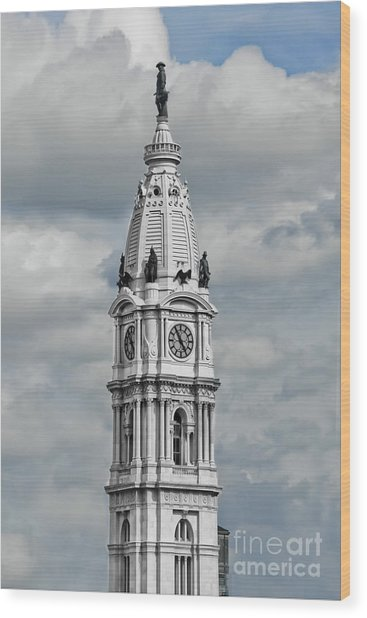 Billy Penn In The Clouds Wood Print by Stacey Granger